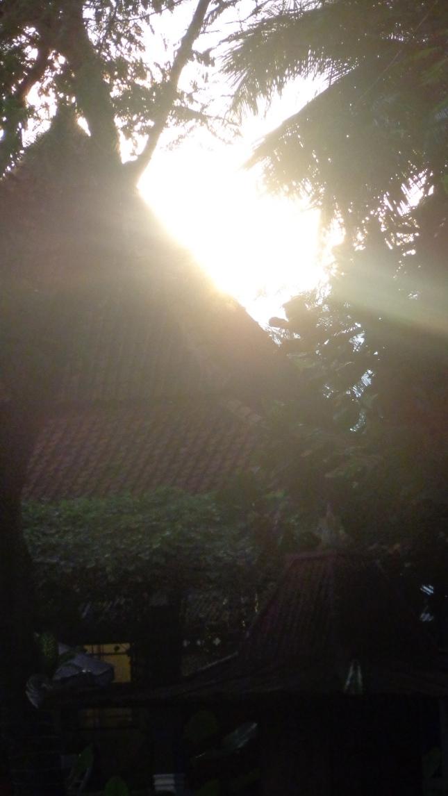 The sun setting in Indo.