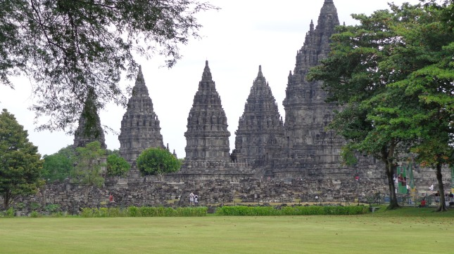 Prambanan Temple from a distance.