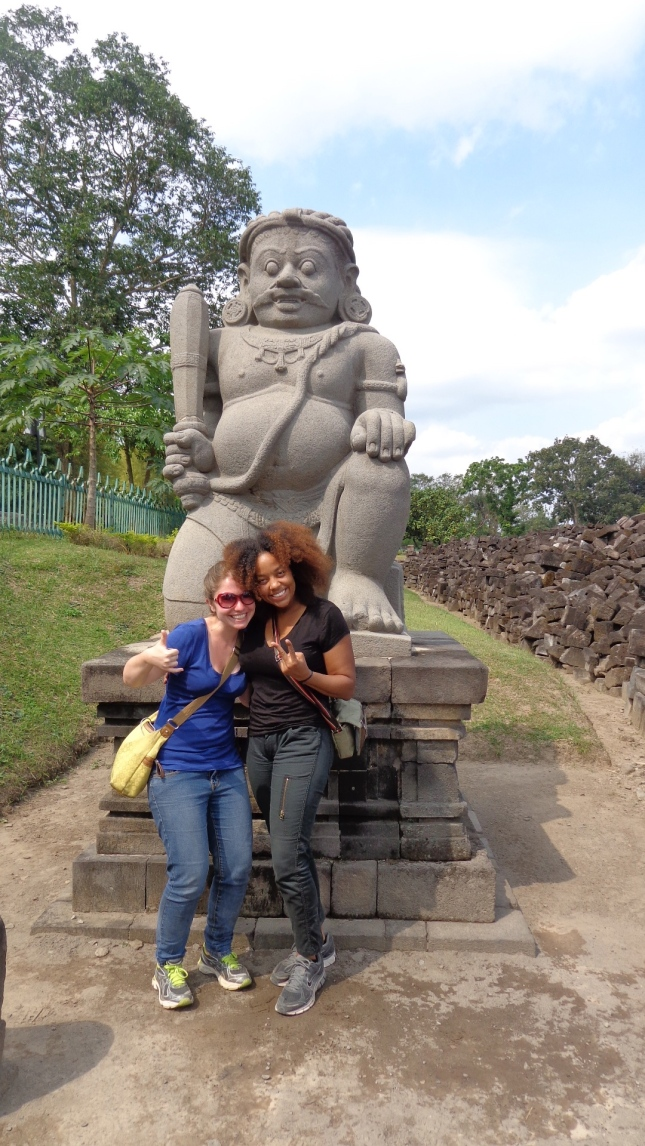 At Prambanan Temple in front of one of the statues